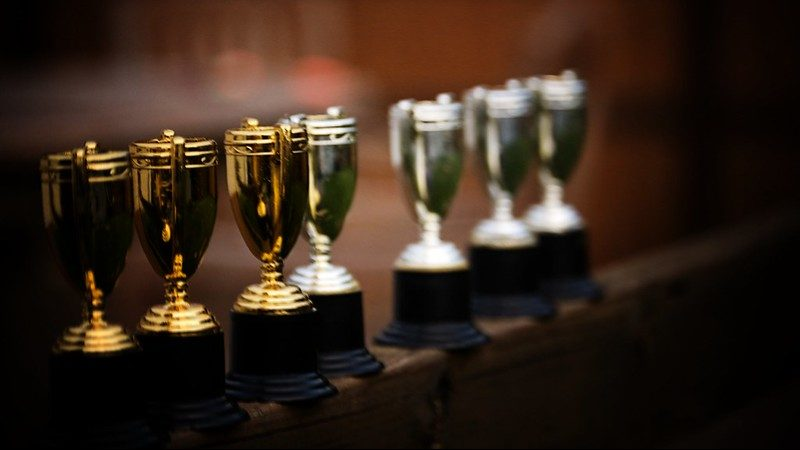 Trophies in a line