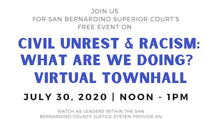 San Bernardino Superior Court Virtual Townhall on Civil Unrest 2020 - Flyer Excerpt