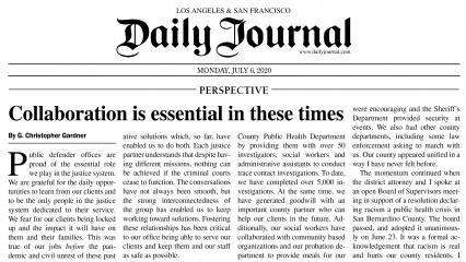 Christopher Gardner, Daily Journal 7-6-2020