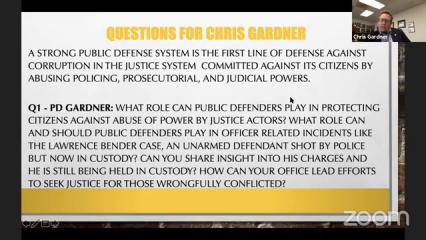 Public Defender Christopher Gardner at Rethink Public Safety Town Hall
