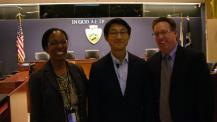 Prof Jerry Kang with Phyllis Morris and Christopher Gardner