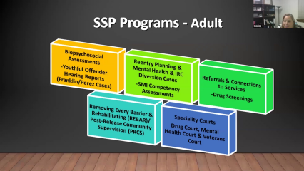 Slide from presentation on forensic social work at the Public Defender's Office, showing social work services for adults