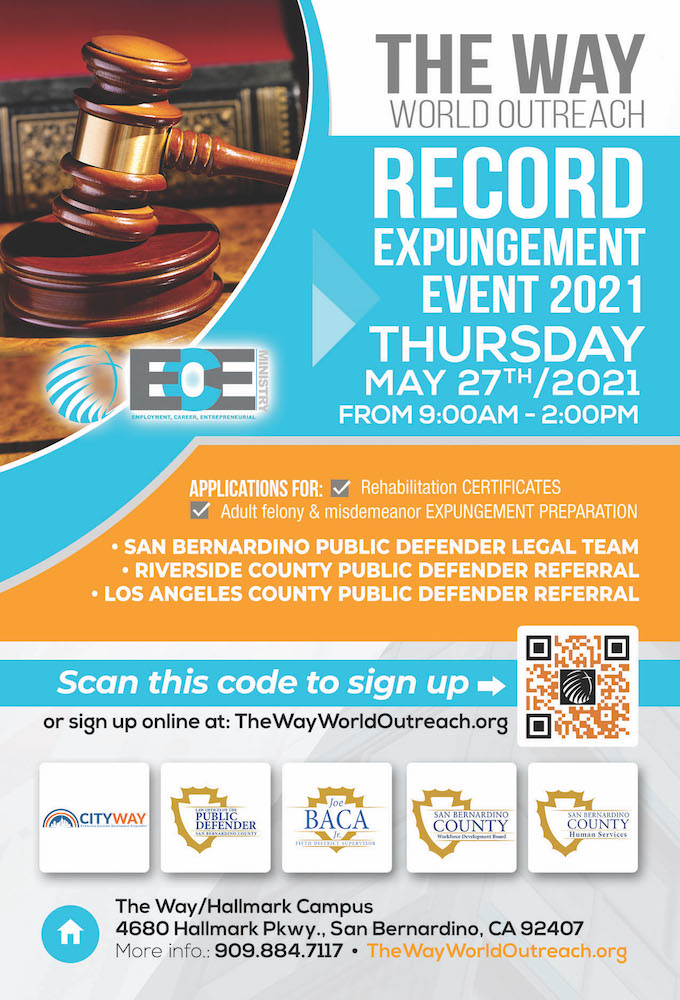 Flyer for The Way World Outreach expungement event on May 27, 2021. Details in post.
