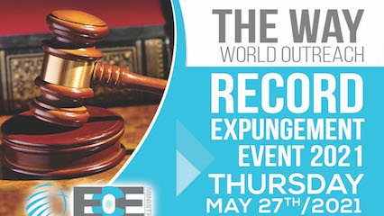 Detail of flyer for The Way World Outreach expungement event on May 27, 2021. Details in post.