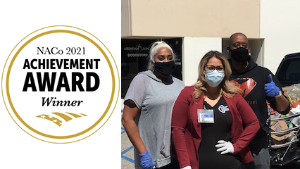 On the left is a graphic with black text reading NACo 2021 Achievement Award Winner inside a gold circle. The right side is a photo of three Public Defender and New Hope staff members wearing face masks.