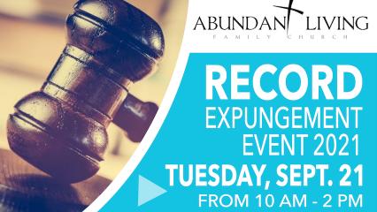 Detail from lyer for record-clearing event at Abundant Living Family Church High Desert, September 21, 2021